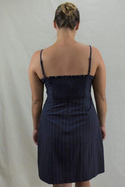 Karis Mini Linen Dress in Navy Pinstripe Rear View