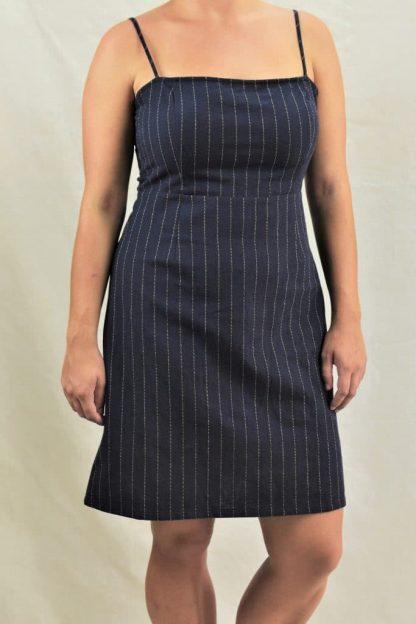 Karis Mini Linen Dress in Navy