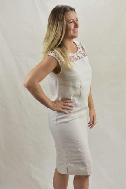 Lacey Shift Natural Linen Dress
