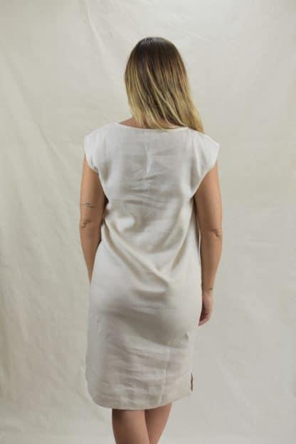 Lacey Shift Linen Dress in Natural Linen