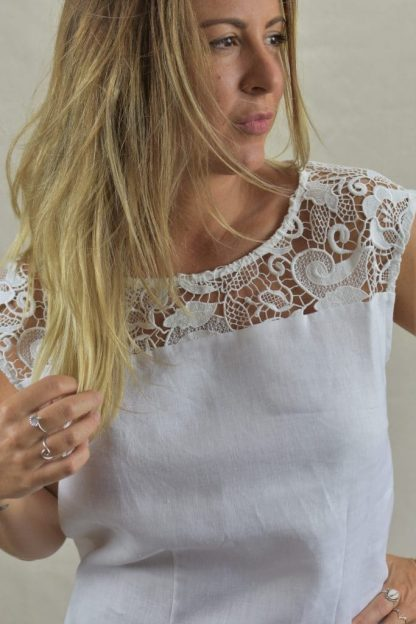 Embroidered Lacey Shift Linen Dress