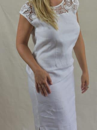 Lacey Shift Linen Dress in Natural Linen
