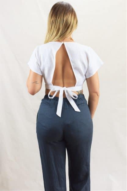 Midnight Linen Pants Rear View