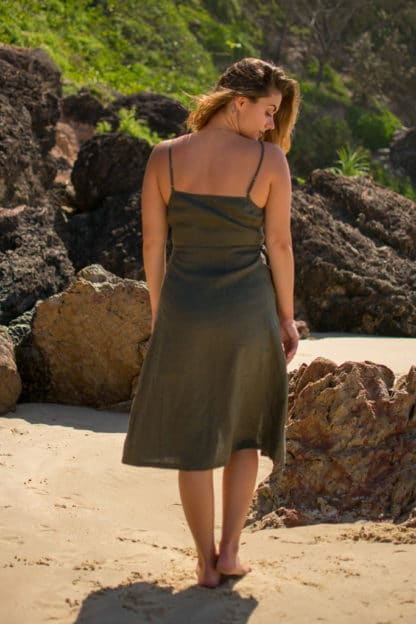Jazmin Wrap Linen Dress Rear
