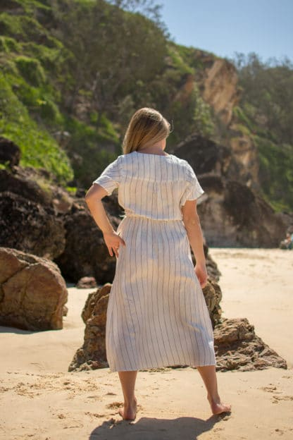 Signature Wrap Linen Dress Rear View