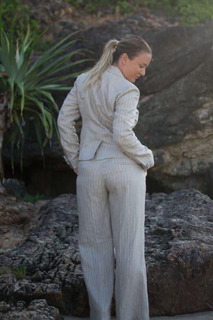 Adorne Womens Linen Jacket by Tusk Rear