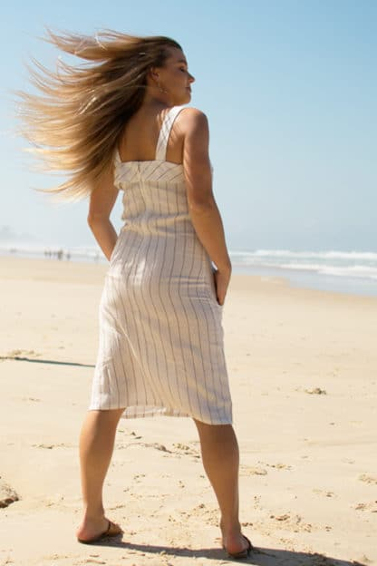 Eva Midi Linen Dress Rear