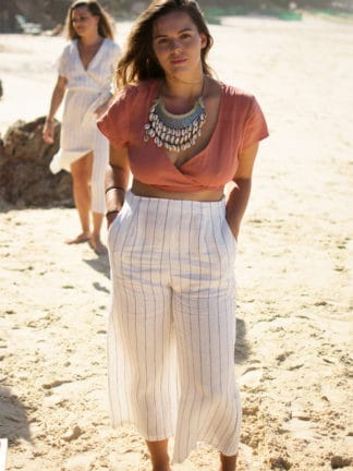 Love My Culottes Linen Pants in Off White with Cocoa Pinstripe