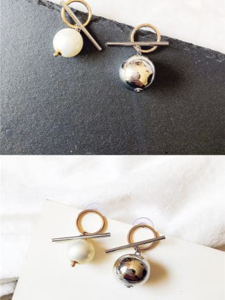 Mismatch Pearl and Silver Earring Accessories
