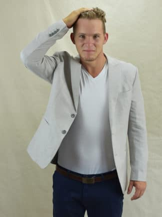 Quality Mens Linen Jacket in Stone Grey