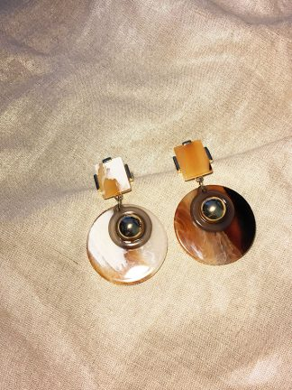 Gold N Amber Earrings
