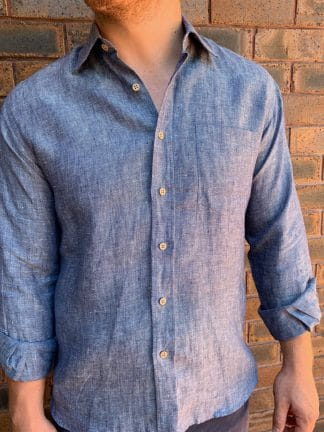 Mens Linen Shirt in Denim Blue