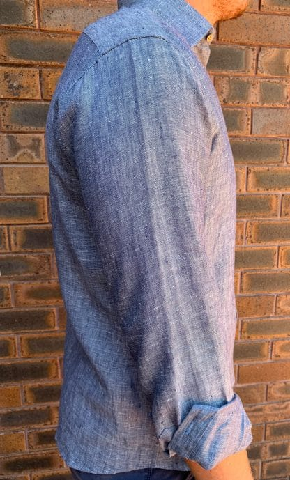 Mens Linen Shirt Denim Blue side