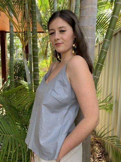 Silver metallic coated linen cami