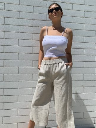 100% Linen Culotte in Natural