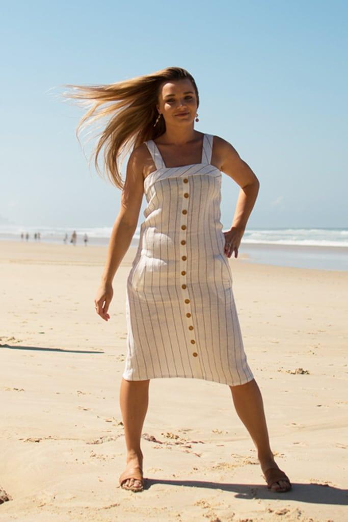 Wholesale Linen Clothing Eva Linen Midi Dress