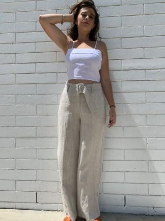Harlow 100% Linen Belted Pants in Natural