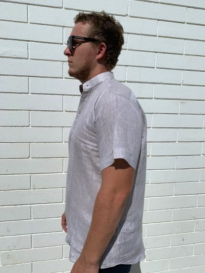 Linen Shirt Mandarin Collar Polo Side View