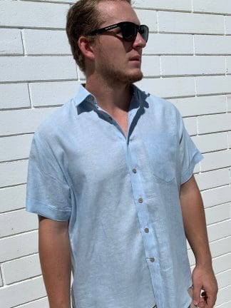 Linen Shirt Short Sleeve Light Blue