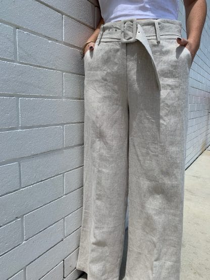 Harlow 100% Linen Pants in Natural