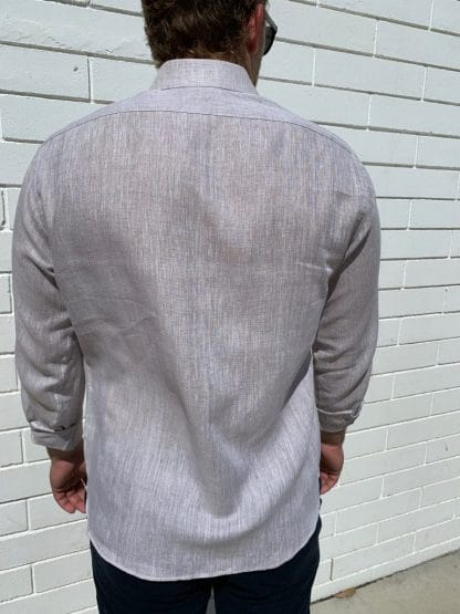 Linen Shirt Long Sleeve in Sand Back View