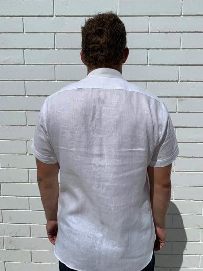 Mandarin Collar Short Sleeve White Linen Shirt