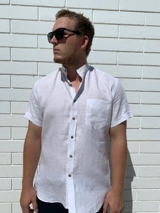 Linen Shirt with Mandarin Collar