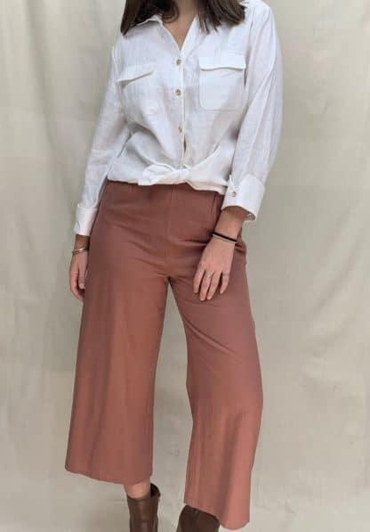 Kamili White Linen Shirt Womens