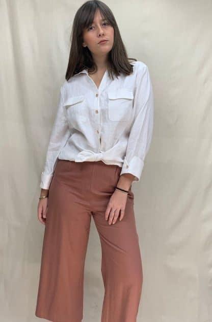 Kamili Womens Linen Shirt White