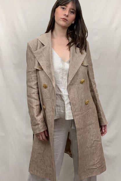 La Linen Manteau Womens Linen Coat