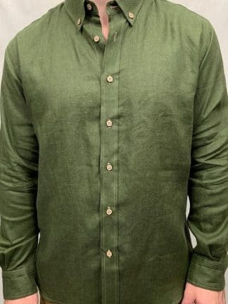 Mens linen shirts in khaki is a trendy new colour.